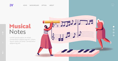 Tiny Female Characters Writing Notes on Huge Stave Landing Page Template. Pianist Women Concert Playing on Piano Illustration