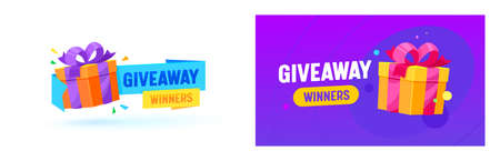 Giveaway Winner Gifts Vector Promo Banner, Social Network Advertising. Presents, Like or Repost Giving in Social Media