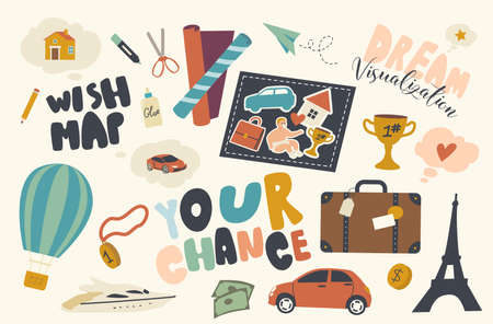 Set of Icons Wish Map Theme. Home, Traveling, Car and Suitcase, Eiffel Tower, Balloon or Winner Cup with Luxury Yacht