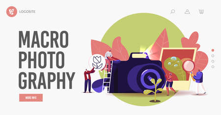 Tiny Photographers at Huge Photo Camera Shoot Macro Photography Landing Page Template. Creative Characters Photographing