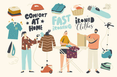 Characters Ironing Clean Linen at Home. Young People Every Day Domestic Routine, Iron Pure Clothes on Board Using Steamer and Iron. Housekeeping Home Work Activity, Laundry. Linear Vector Illustration