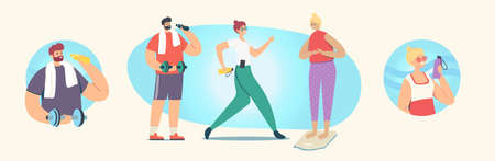 Set of People Doing Sport, Exercising, Sport Activity, Male and Female Characters in Sports Wear Workout with Weight