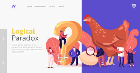 Paradox Which Came First Chicken or Egg Landing Page Template. Chicken-and-egg Metaphoric Adjective. Characters and Hen 向量圖像
