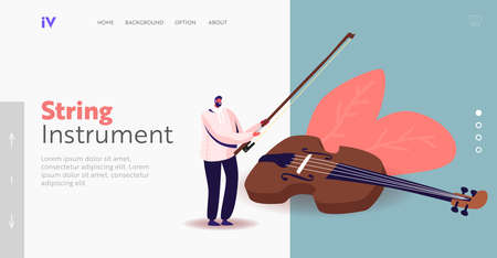 Classical Music Performance, Instrumental Ensemble Landing Page Template. Tiny Musician with Huge Violin and Bow Vettoriali