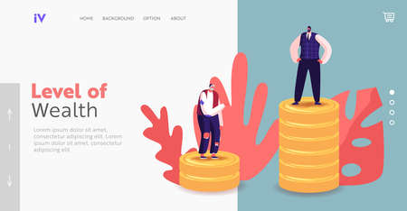 People with Different Income Class Landing Page Template. Unemployed Beggar and Rich Businessman Finance Hierarchy