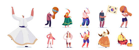 Set of People in Authentic National Costumes with Music Instruments. Male and Female Characters Dancing, Playing Music Vettoriali