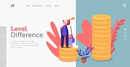 Income Class Landing Page Template. Tiny Housewife or Cleaning Service Employee Character in Uniform Look in Spyglass