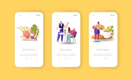 Online Menu Mobile App Page Onboard Screen Template. Tiny Male and Female Characters Sitting at Tables Drinking, Eating