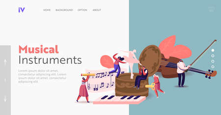 Tiny Characters Playing Musical Instruments around Huge Music Box Landing Page Template. People Write Notes on Stave