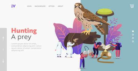 Falconry Landing Page Template. Tiny Characters Holding Professional Equipment for Falcon Training. Arabian Sport