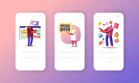 Social Media Ad, Sale, Special Offer Mobile App Page Onboard Screen Template. Advertising, Public Relations and Affairs Vettoriali