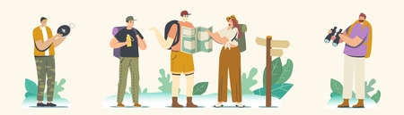 Backpacker Characters on Mountains or Rock. Travelers Adventure, Summer Vacation, Hiking Hobby Concept, Orienteering