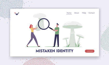 People Study Edible and Unedible Fungi and Dangerous Plants Landing Page Template. Mushroomer Learn Poisonous Mushrooms