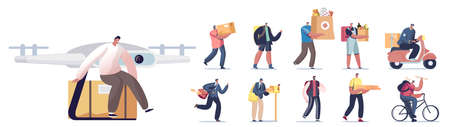 Set of People Work in Delivery Service. Male and Female Characters Bringing Parcels, Medicine, Grocery and Post Vettoriali