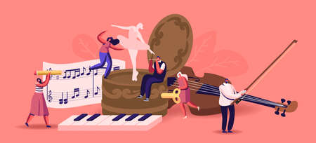 Tiny Male Female Characters Playing Musical Instruments around Huge Music Box with Dancing Ballerina. People with Violin