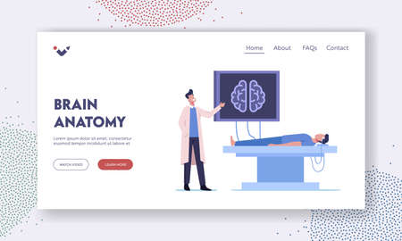Neurobiology Medicine, Brain Mri Landing Page Template. Doctor and Patient Characters in Hospital on Medical Examination