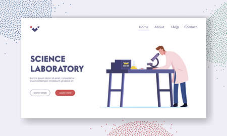 Neurobiology, Chemical Laboratory Research Landing Page Template. Male Scientist Character Working in Lab with Equipment Vettoriali