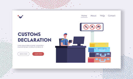 Customs Officer Work Landing Page Template. Male Character Sit at Desk Looking in Tourist Passport with Suitcases Pile Vettoriali