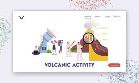 Characters Studying Volcano Eruption Landing Page Template. Scientists Stand at Volcano Cross Section Erupting Lava Vettoriali