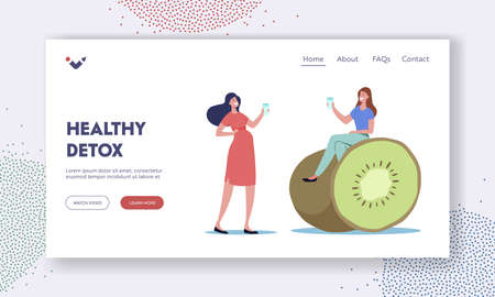 Young Women Sitting at Huge Kiwi Drinking Infused Water Landing Page Template. Tiny Female Detox Diet, Healthy Food