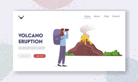 Learn Geological Information, Study Nature Disaster Landing Page Template. Scientist or Tourist Look on Volcano Eruption