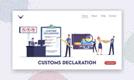 Airport Security Landing Page Template. Tiny Customs Officers Filling Customs Declaration and Check Passenger Baggage