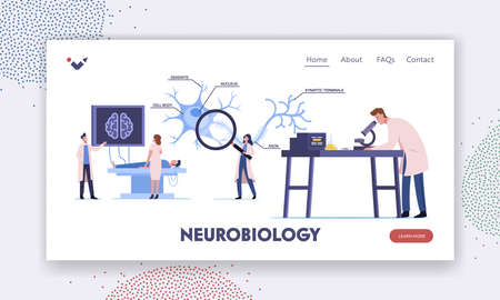 Scientists Characters Learning Human Brain in Laboratory Landing Page Template. People in Lab with Scheme of Dendrite