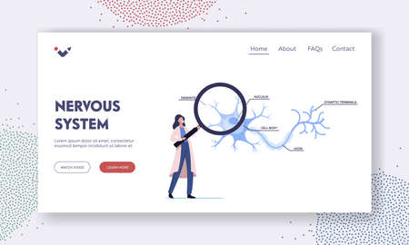 Neurobiology Landing Page Template. Tiny Scientist Female Character Learning Human Neurons Scheme in Laboratory