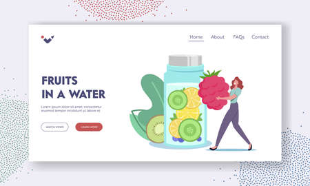 Woman Drinking Healthy Beverage for Detox Landing Page Template. Tiny Female Character Put Huge Raspberry in Bottle