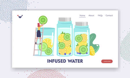 Woman Making Cold Drink for Detox Landing Page Template. Tiny Female Character Put Cucumber Slice in Huge Water Glass Vettoriali