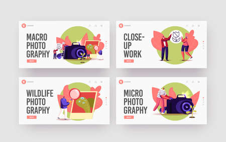 Tiny Photographers at Huge Camera Shoot Macro Photography Landing Page Template Set. Creative Characters Photographing