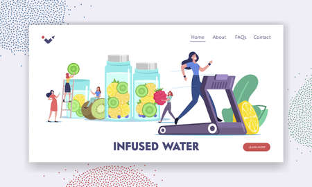 Vitamin Food Landing Page Template. Detox Diet, Healthy Lifestyle. Characters Cooking Infused Water, Drinking Smoothies Vettoriali