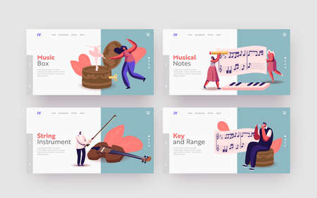 Tiny Characters Play Musical Instruments around Huge Music Box with Ballerina Landing Page Template Set. People, Stave Vettoriali