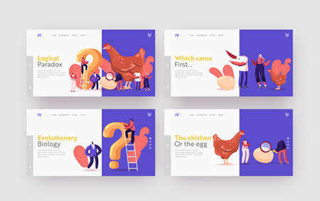 Paradox Which Came First Chicken or Egg Landing Page Template Set. Chicken-and-egg Metaphoric Adjective