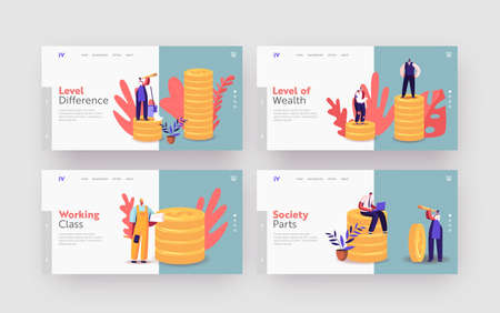 Society Structure Landing Page Template Set. Tiny Characters of Different Class Stand on Huge Gold Piles. Cartoon People