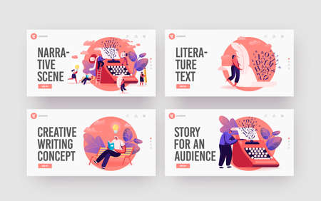 People Enjoying Narration, Reading Literature, Poetry Landing Page Template Set. Tiny Characters at Huge Typewriter Vettoriali