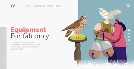Bird Hunting Landing Page Template. Tiny Female Character Hold Huge Professional Equipment for Falconry Sport Vettoriali