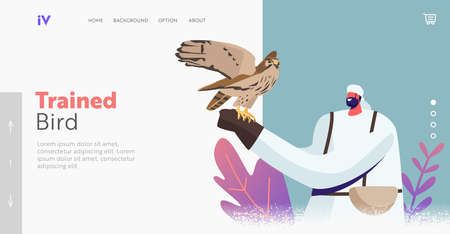 Falconry Landing Page Template. Male Characters in Arab Dress Hold Wild Falcon on Hand. Falcon Training, Arabian Sport
