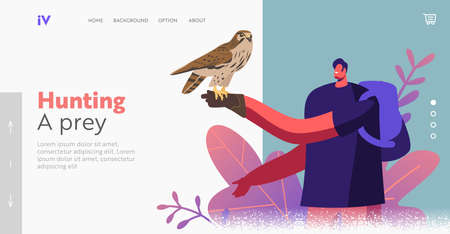 Character on Falconry Festival or Outdoor Zoo Park Landing Page Template. Wild Falcon Sit on Man Hand in Leather Glove Vettoriali