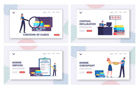Airport Security Landing Page Template Set. Tiny Customs Officer Fill Customs Declaration and Confiscate Illegal Things Vettoriali