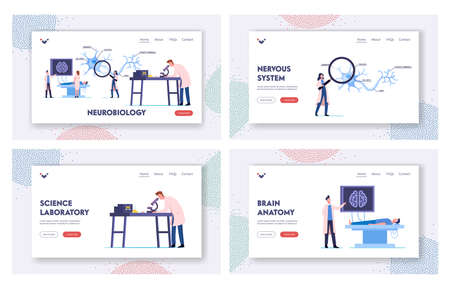 Scientists Characters Lear Human Brain in Laboratory Landing Page Template Set. People in Lab with Scheme and Equipment Vettoriali
