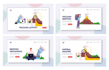 Volcano Eruption Studying Landing Page Template Set. Scientists Stand at Volcano Cross Section Erupting Lava and Gas