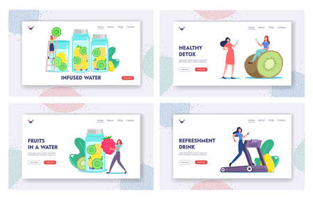 Vitamin Food Landing Page Template Set. Detox Diet, Healthy Lifestyle. Characters Cooking Infused Fruit Water, Smoothies Vettoriali