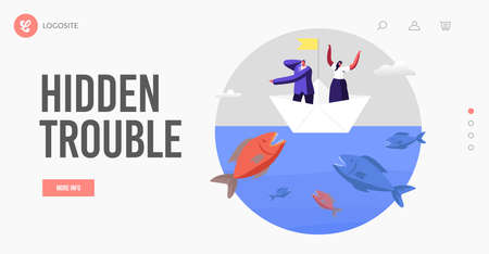 Business Characters Escape Attack of Huge Fish in Sea Landing Page Template. Business People on Paper Boat Avoid Crisis