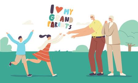 Joyful Grandchildren Characters Meeting Grandparents. Happy Family Visit Grandfather and Grandmother.