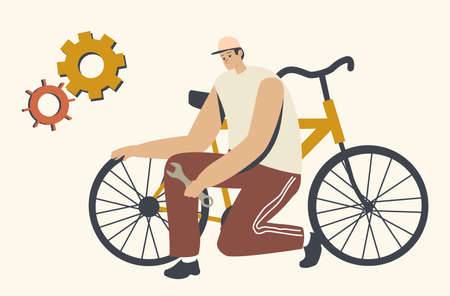 Sportsman or Driver Male Character Stand on Knees near Broken Bicycle Holding Spare Wheel in Hands, Checking Wheels
