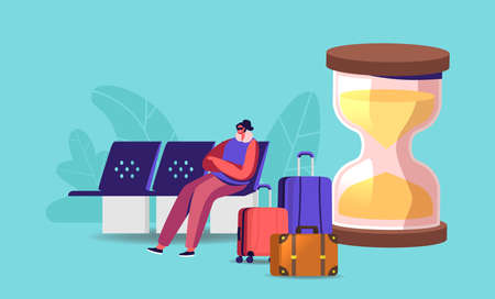 Female Traveler Character Sit in Airport Waiting Area with Mask on Eyes Trying to Sleep near Huge Hourglass and Baggage