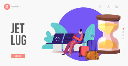 Biological Clock Change,Time Zone Jet Lag Landing Page Template. Traveler Character in Airport Wait Area Trying to Sleep