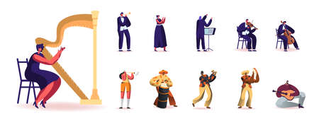 Set of People Playing Different Musical Instruments. Male and Female Characters with Harp, Trumpet and Flute, Maracas
