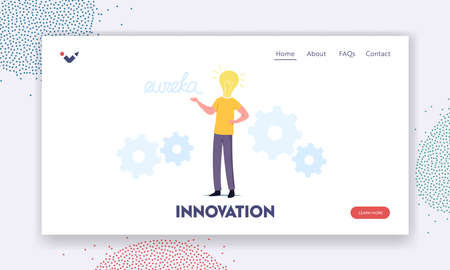 Business Man Work on Project Search Creative Idea Yell Eureka Landing Page Template. Male Character with Huge Bulb Head